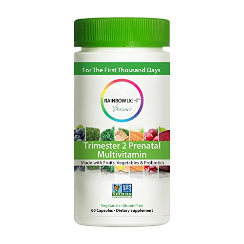 Rainbow Light Vibrance Trimester 2 Prenatal Multivitamin, 60 Count Capsules, Dietary Supplement Made with Fruits, Vegetables & Probiotics, Supports Healthy Immunity & Energy
