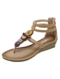 AGOWOO Women's Jeweled Zip Ankle Strap Wedge Wedge Wedge Thong Sandals B07BFBB417 Parent 38e9a9