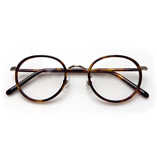 Komehachi - Womens Mens Retro Oval Optical Prescription-Ready Eyeglasses Frame with Clear Lenses - Old School Eyeglasses