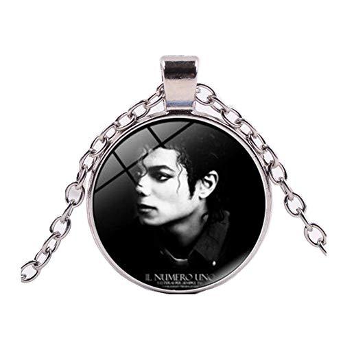 King Of Pop Bezel Unisex Silver Plated Michael Jackson Souvenir Charm Pendant Necklace (Michael Jackson Man In The Mirror Chords)