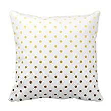 White Gold Polka Dot Pillow Covers 20inch Holiday Pillowcases