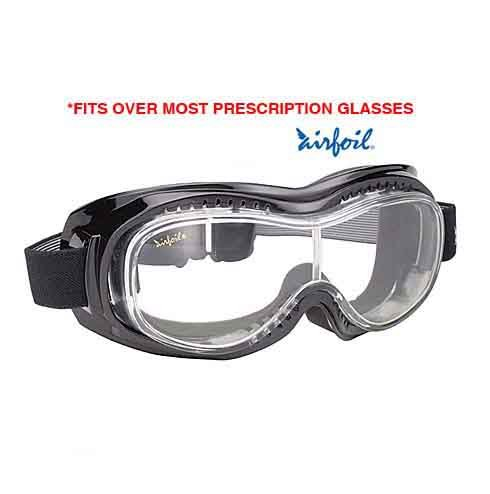 Pacific Coast Airfoil Black Goggles With Anti Fog Clear Polycarbonate Lens With - One Size