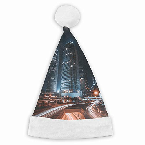 Christmas Hong Kong Night City Skyscrapers City Lights Santa Claus Hat Adult Kids Type Festival Party Decoration Gift Adult]()