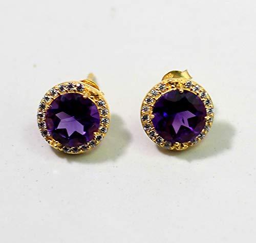 Amethyst CZ Earring, Natural Gemstone Earring, Birthstone Jewelry, amethyst post Earrings, sterling silver ()
