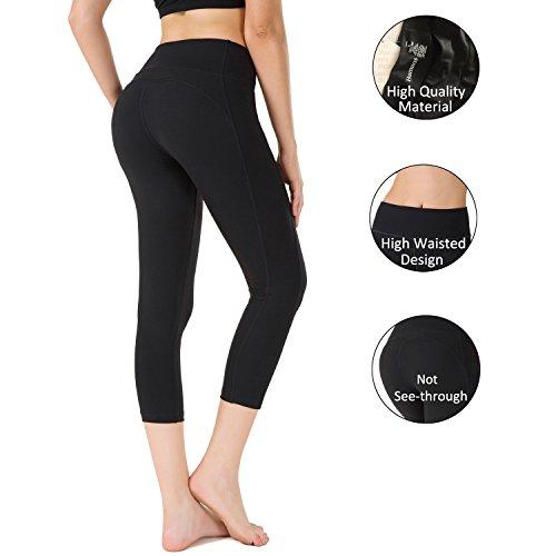 Bamans Yoga Pants Black Workout Capri Leggings for Women , Capri Skinny Leggings , High Waisted Tummy Control Design