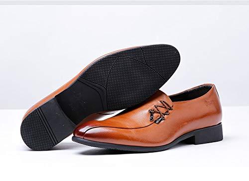 los resbalón los de Caballeros Yao 40 Size de Simple Cuero Brown EU Hombres diseño los Superior Plano Genuino holgazán Color Zapatos del para Holgazanes del wzwq5fpxUX
