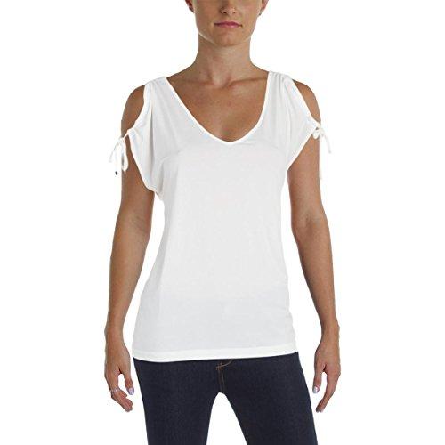 Ivanka Trump Women's Solid Cold-Shoulder Matte Jersey Top, Ivory, L