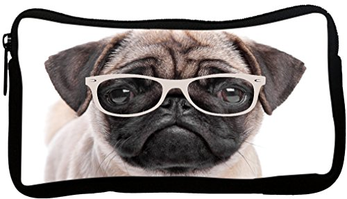 Rikki Knight Hipster Pug Dog Puppy with Glasses Design Neoprene Pencil - Get To Hipster Glasses Where