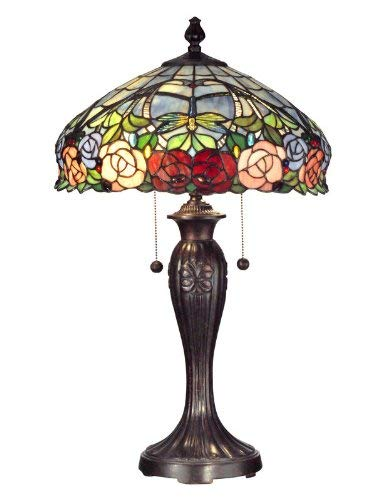 Dale Tiffany TT12232 Zenia Rose Table Lamp, 16.25' x 16.25' x 27', Fieldstone