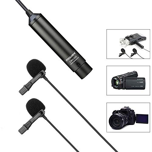 (20ft Dual Head XLR Lavalier Microphone, MOURIV Omni-directional Phantom Power Lapel Clip on Mic Interview Kit for Canon Sony Panasonic Camcorders ZOOM H4n H5 H6 Tascam DR-60D DR-70D DR-100 Recorder)