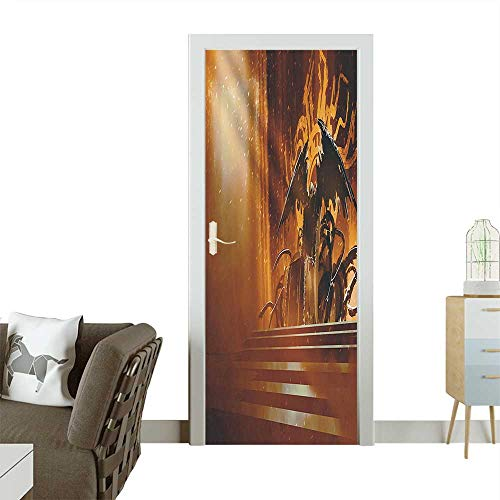 Decorative Door Decal House Dark Fiction Throne with Heraldic Emblem on The Background Gothic Orange Stick The Picture on The doorW35.4 x H78.7 INCH]()