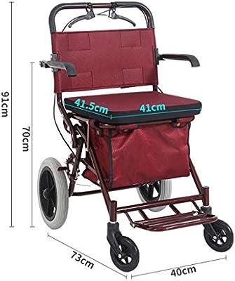 Shopping Trolley- El Viejo dobla el Carro de la Compra, el Andador de Cuatro Ruedas Puede Empujar el Carrito pequeño y el Asiento del Carro se Puede ...