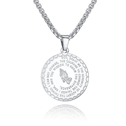 Molike Bible Verse Prayer Necklace Christian Jewelry Stainless Steel Coin Pendant Necklaces for Men Women (White) ()