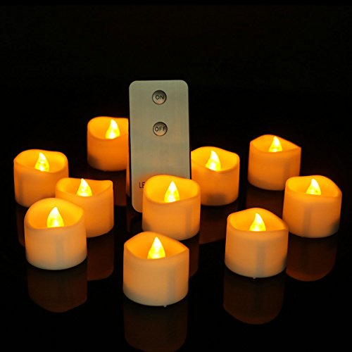Long Lasting Amber Tea Lights Set of 24 Unscented Candles, Small Led Battery Operated Electronic Candles Lights for Halloween Thanksgiving Xmas Holiday Decorations (Uneven) (Wave Remote) by Cozeyat
