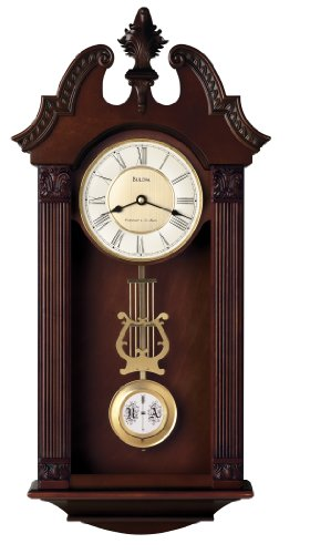 Bulova C4437 Ridgedale Clock, Walnut Finish (Glass Clock Regulator)