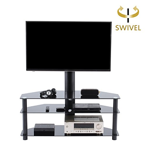 TAVR Swivel Floor TV Stand with Mount,3-in-1 Flat Panel Entertainment Stand for 32 to 65 inch Plasma LCD LED Flat or Curved Screen TVs (Plasma Flat Panel Tv Stand)