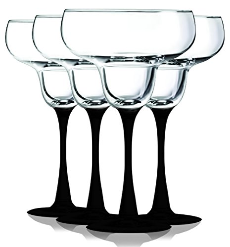 (Black Accent Stem 14.5 oz Margarita Glasses Set of 4 by TableTop King - Additional Vibrant Colors)