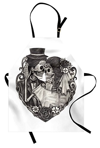 Lunarable Tattoo Apron, Skull Wedding Day of Dead Couple Bride and Groom Endless Love Vintage Artwork Print, Unisex Kitchen Bib Apron with Adjustable Neck for Cooking Baking Gardening, Ash Grey Print Vintage Bib