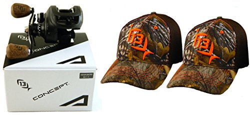 bundle-13-fishing-concept-a-a81-rh-811-right-hand-baitcast-fishing-reel-with-2-l-xl-hats