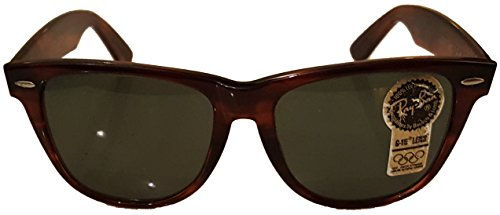 Wayfarer II Ray-Ban by Bausch & Lomb Dark Tortoise Original never owned Real New Vintage Sunglasses G15 Glass Lenses made in the USA in the 1980's LARGE SIZED - Bausch Lomb And Sunglasses Wayfarer