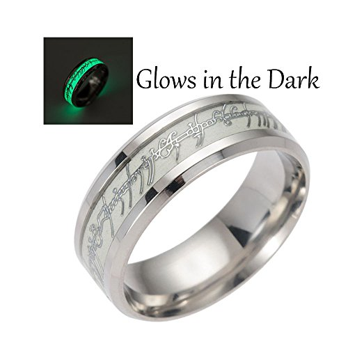 Glow in the Dark Stainless Steel Comfort Fit Wedding Band Ring - Ginger Lyne Collection