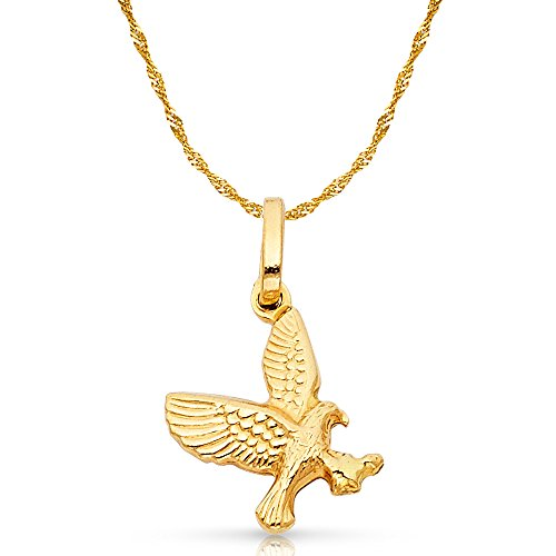 Gold Flying Eagle Charm - Ioka Jewelry - 14K Yellow Gold Flying Eagle Charm Pendant with 1.2mm Singapore Chain Necklace - 24