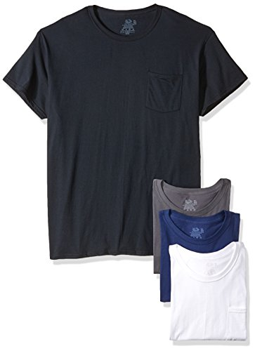 Fruit of the Loom Men's Pocket Crew Neck T-Shirt - Medium - Assorted Colors (Pack of 4)