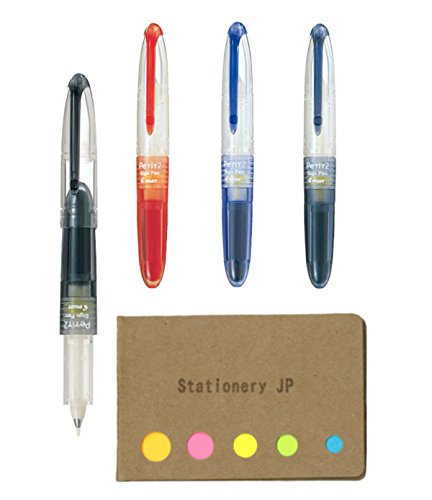 Pilot Petit2 Mini Sign Pen, 4 Color Ink(Black/Blue/Red/Blue Black), Medium, Sticky Notes Value Set - Medium Sticky Notes