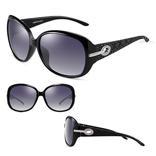 2DAWANG Strass Femme de Élégant Rétro Volant Lunettes Soleil Cadre Nouvelle Grand Mode Marée Black Essentiel Miroir rpwrqxFgf7