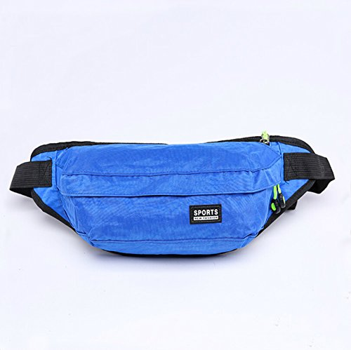 OrrinSports Men's 2 Zippers Outdoor Sports Polyester Concealed Carry Fanny Pack with Adjustable Waist Belt Blue