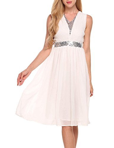 ANGVNS Women's V Neck Sleeveless Sequined Sexy Chiffon Cocktail Dress