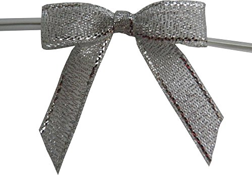 - Small, Metallic Silver Twist Tie Bows- 50pc