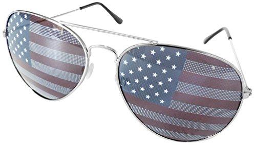 American Flag Sunglasses Aviator Sunglasses Stars Stripes Sunglasses Metal Frame Unisex Glasses UV Protection for Adult (Silver, American Flag)