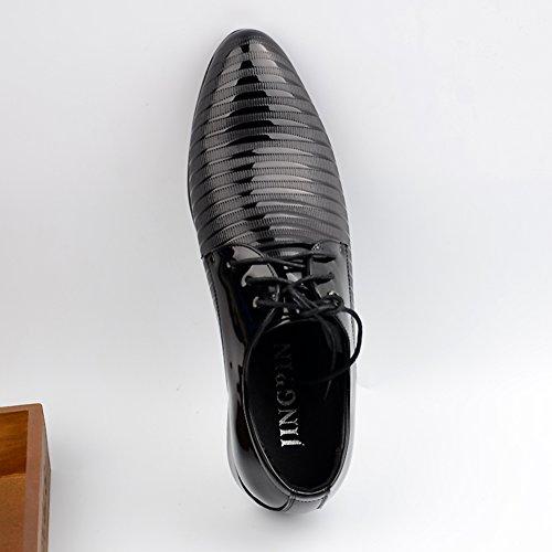 Dearwen Mens Bout Pointu Oxford Affaires Robe Chaussures Noires