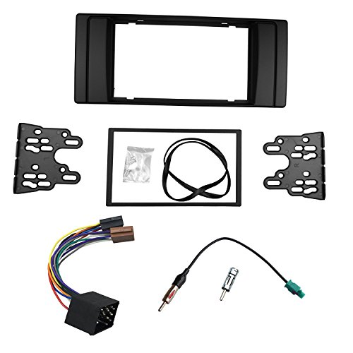 DKMUS Dash Installation Trim Kit for BMW 5 Series E39 1995-2003 X5 E53 1999-2006 Facia Double Din Radio Stereo DVD with Wiring Harness Antenna Adapter (Bmw Professional Radio)