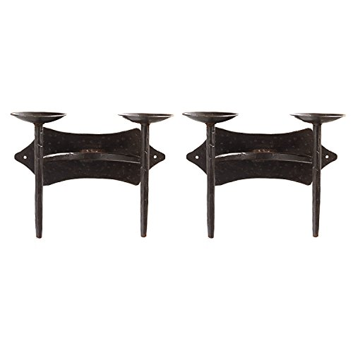 BigKitchen Two Candle Vintage Black Wrought Iron Wall Sconce, Set of 2