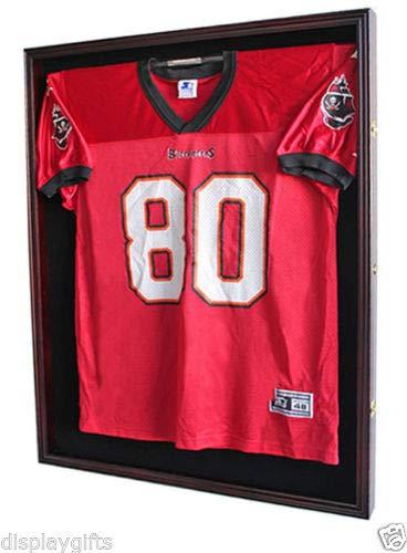 - XX Large Football/Hockey Uniform Jersey Display Case Frame, UV Protection Ultra Clear, Locks (Mahogany)