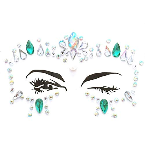 (LiPing Face Gems Adhesive Glitter Jewel Tattoo Wedding Festival Rave Party Body Make Up Realistic Temporary Tattoos Cover/Body Art Sticker for Man Women/Body Paints Temporary Tattoo Designs (C))