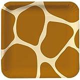 Creative Converting Animal Print Giraffe Square Dessert Plates, 8 Count