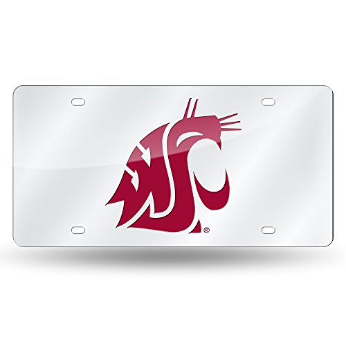 (Rico Industries NCAA Washington State Cougars Laser Inlaid Metal License Plate Tag, Silver)