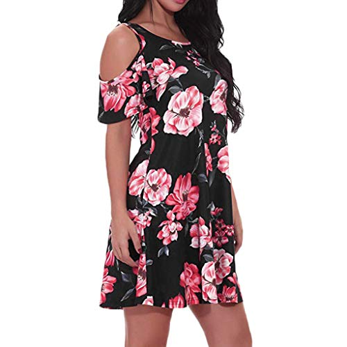 Sunhusing Women's Off Shoulder Short Sleeve Sunflower Print Dress Ladies Summer Casual Mini Dress Red