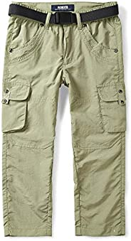 OCHENTA Kids Boy's Youth Quick Dry Pull on Cargo Pants, Outdoor Hiking Camping Fis