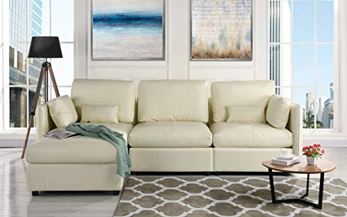 L-Shape Living Room Leather Match Sectional Sofa, Left Facing Chaise Lounge (Ivory)