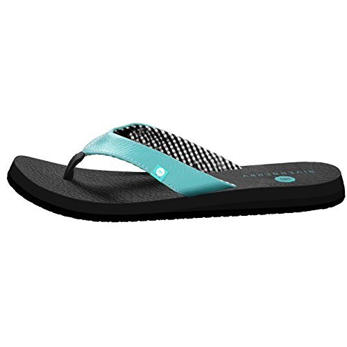 Riverberry Women's Yoga Flip Flop with Yoga Mat Padding, Turquoise, 9