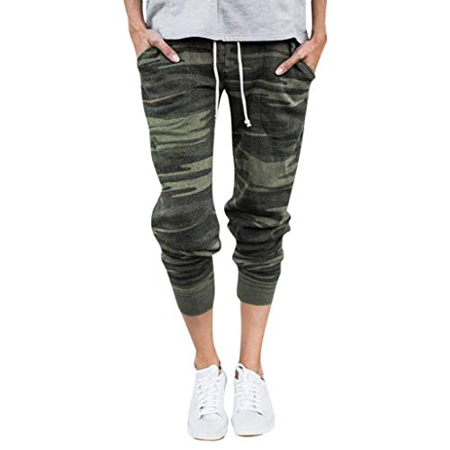 ANJUNIE Women Casual Solid Straight Leg Jogger Pants Waistband Bandage Mid-Waist Trousers(Camouflage,S)
