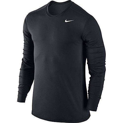 NIKE Men's Base Layer Long Sleeve Training Top, Black/Black/White, XX-Large