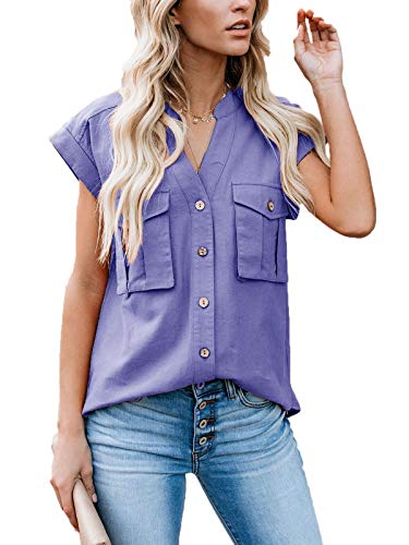 - Lannychic Women's Button Up Shirts Cotton Short Sleeve Blouses V Neck Casual Tunics Solid Color Tops with Pockets - Blue XL