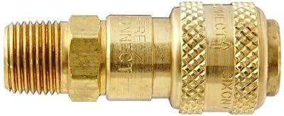 "Dixon Valve DCB2103 Brass Air Chief Industrial Interchange Quick-Connect Air Hose Socket, 1/4"" Coupler x 3/8"" NPT Male Thread, 27 CFM Flow Rating"