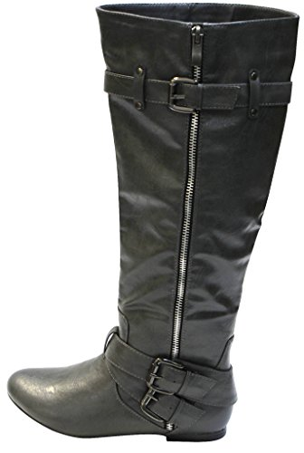 Binnibel Bianca-5 Womens almond toe flat boots with side zipper stud buckled strap decors knee high PU boots Grey