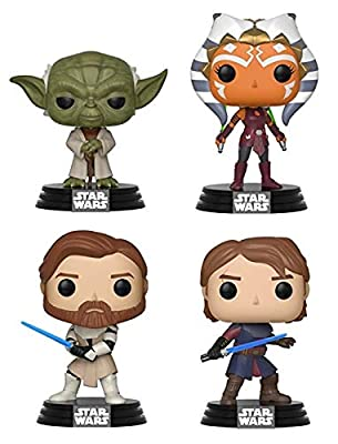 "Funko Pop! Star Wars: The Clone Wars Collectible Vinyl Figures, 3.75"" (Set of 4)"